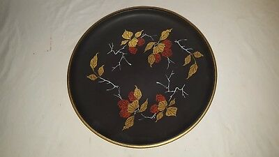 "German Pottery 11.75"" Plate Gold Leaf Red Berries, 289-29 Crossed Swords"