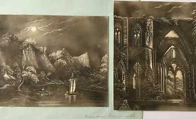 Pair of early 19th century Landscapes with Moonlight Graphite Drawings.