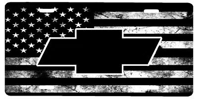 New Custom American Flag Tactical Black And White Chevy Vanity License Plate