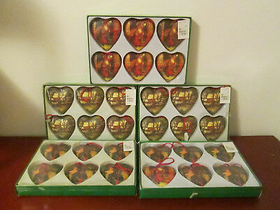 Vintage Christmas Ornaments Paper Mache Heart Ornaments Decoupage Ornaments
