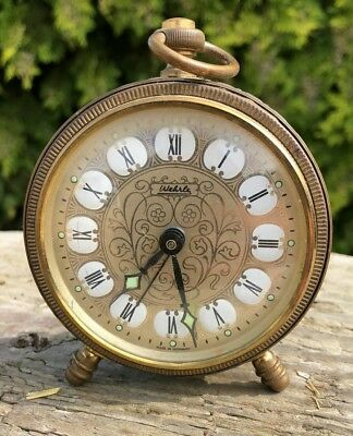 Beautiful Antique Vintage Brass German Alarm Clock in Working Order *