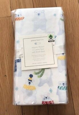 Pottery Barn Kids Baby Winter Icy Polar Bear Organic Flannel Crib Fitted Sheet