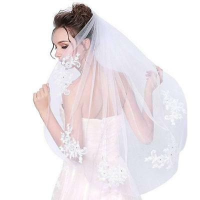 Frcolor Elegent Lace Appliques Wedding Veil Crystal Beaded With Comb