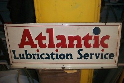 'Atlantic' Motor oil 'Lubrication Service' Flanged Sign 1920s-30s