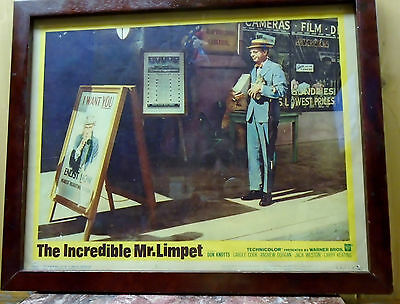 The Incredible Mr.Limpet RARE Theater Lobby Card #64/100 Framed-RAREST!
