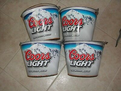 Four Used Coors Light Beer Buckets