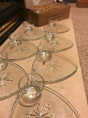 Snowflake Snack Set by Indiana Glass Company - Crystal - 8 cups and 7 trays