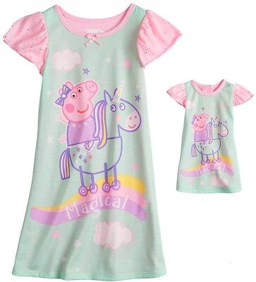 New PEPPA PIG Nightgown & matching Doll Gown Girls 2T UNICORN Dorm Dress Pajamas