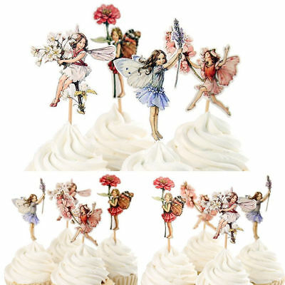 24Pcs Flower Fairy Cupcake Toppers Food Picks Cake Decor for Kids Birthday Party