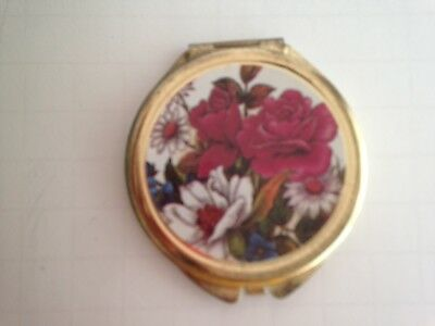 "Vintage Mirror Compact Metal Case 2.5"" Round Gold -tone Red White Floral"