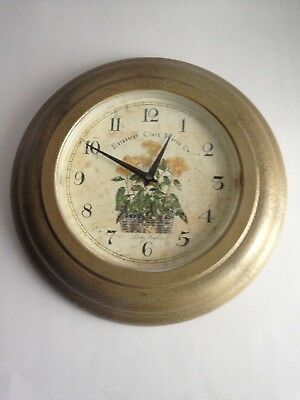 Vintage Edinburgh Clock Works Co. Round Bronze Color Floral Pattern Motif London
