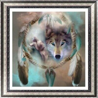 AU Wolf Dream Catcher Full Drill 5D Diamond Painting Embroidery Cross Stitch LE