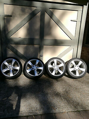 """18"""" GENUINE MERCEDES BENZ C-CLASS W204 STAGGERED ALLOY WHEEL plus new tires"""