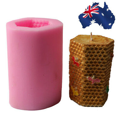 AU Bee Honeycomb Cylinder Candle Mold Soap Mould Flexible Silicone Handmade Mold