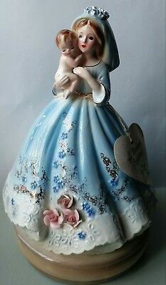 Vintage JOSEF ORIGINALS Music Box Lady holding baby WORKS