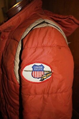 Vintage old used Union Pacific Railroad winter coat jacket hood patch trains