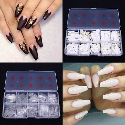 Nails Full French False Nail Art Tips Acrylic Uv Gel Salon Manicure Fake