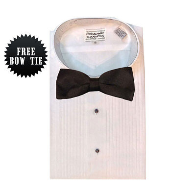 """Boy's White Tuxedo Shirt With Wing Collar and 1/4"""" Pleats Youth FREE BOW TIE"""