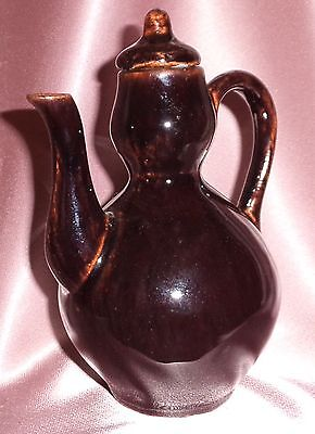 Vintage Ceramic Pottery Small Chinese Glazed Tea Coffee Pot ~ Estate Collectable