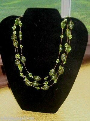 Vintage Lucite Light Green Oval Beaded Three Strand Necklace on Copper Wire