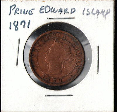 1871 Prince Edward Island Large One Cent Penny Coin Rare