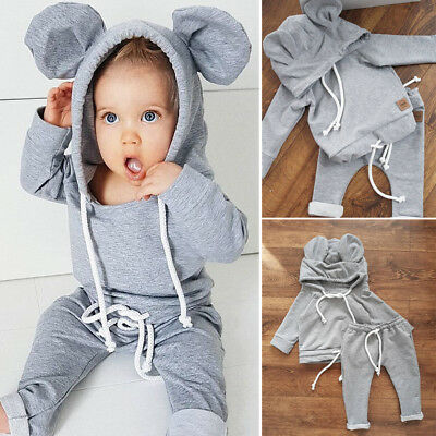 Newborn Infant Outfit Set Baby Boy Girl Clothes Hoodie T-shirt Tops+Long Pants