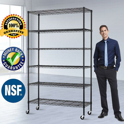"6 Tier Commercial Wire Shelving Rack 48""x18""x82"" Metal Rack W/Casters Black"