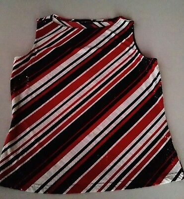 George Tank Top Blouse Ladies Size M Red Black White Stripes Sequins Stretchy