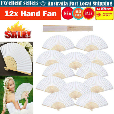 AU 12Pcs Portable Folding White Paper Bamboo Hand Fan Wedding Favours DIY Gift