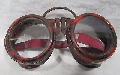 Vintage Motorcycle Safety GOGGLES Red Swirl BAKELITE Aviation Steampunk USA