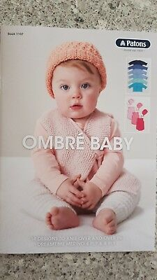 Patons Pattern Book #1107 Ombre Baby 14 Designs to Knit in Dreamtime 4 & 8 Ply