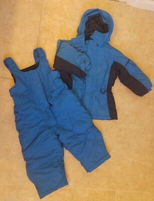 L.L.Bean Toddler Boys Winter Snowsuit Set: Snowpants Bib Jacket Blue Sz 2T
