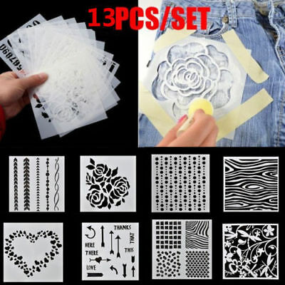 7/13PCS Stencil Stencils Wall Painting Templates Craft Embossing Airbrush Craft