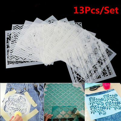 13pcs Multi Stencils Wall Painting Layering Stencils Templates Craft Embossing