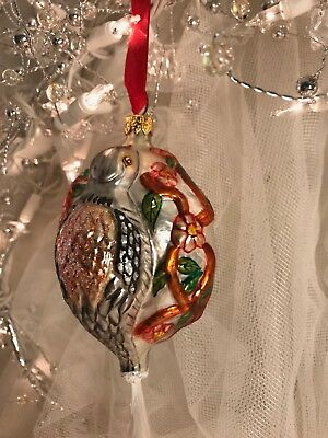 CHRISTOPHER RADKO BLOWN GLASS ORNAMENT TWO TURTLE DOVES #2 12 days of CHRISTMAS