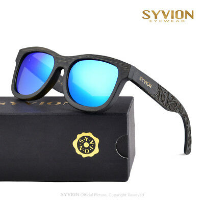 Syvion Luxury Vintage Bamboo Wood Sunglasses Mens Womens Retro Wooden Sunglasses