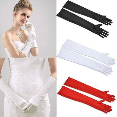 Satin Ladies Long Bridal Wedding Opera Prom Evening Party Costume Stretch Gloves