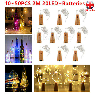 10/20X Bottle Fairy String Lights Battery Cork Shaped Wedding Party Events 20LED