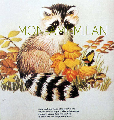CREWEL EMBROIDERY NEEDLEPOINT TRACEABLE PATTERN To Make a Cute RACOON ANIMAL
