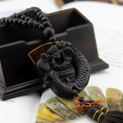 Ebony Wood Carved Chinese Dragon Carp Statue Car Pendant Amulet Sculpture Wooden