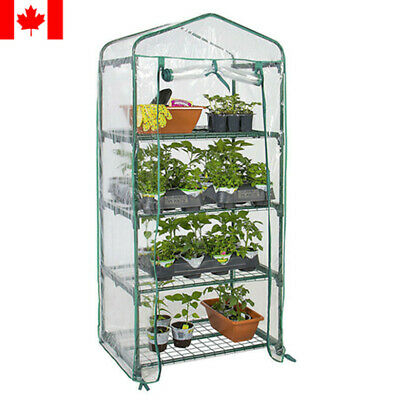 4-Tier Portable Mini Greenhouse W/ Clean Cover Winter Garden Plants Warm House