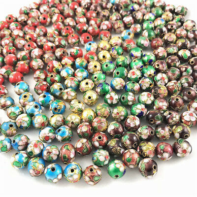 NEW 30/50PCS Cloisonne Bead Enamel Round Ball Spacer loose Metal Beads 6mm 8mm