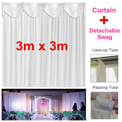 3x3M Silk Satin Stage Backdrop Curtain Drape Wedding Party Decor Detachable Swag