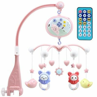 Baby Kid Musical Cot Mobile Crib Bed Light Flash Nusery Lullaby Remote Controler
