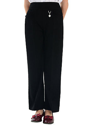 5a122e785f3f4e School Uniform Girls Grey Navy Trousers with Silver Heart Buckle - Ages 2-14