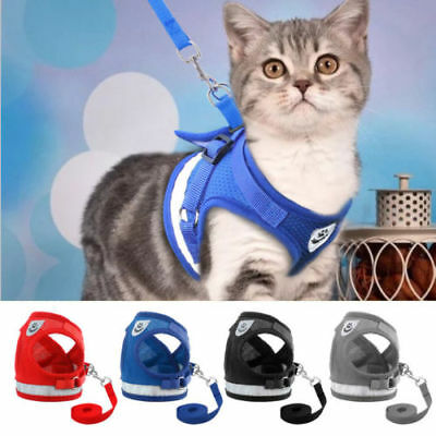ALS_ Kitten Cat Walking Harness Lead Leash Collar Adjustable Small Dog Vest for