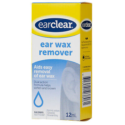 Ear Clear Ear Wax Removal Drops 12ml Ear Cleaner Dual Action Soft Loosen Formula