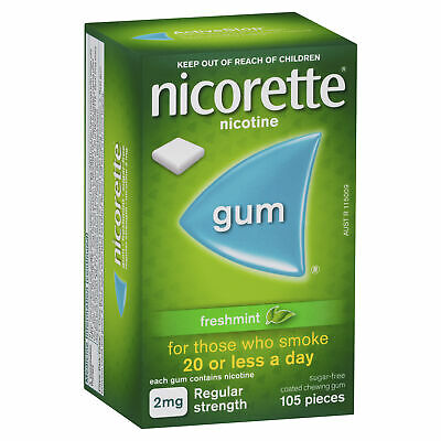 Nicorette Gum 2mg Freshmint 105 Smokers Aid Nicotine Replacement Therapy