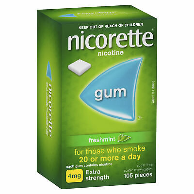 Nicorette Gum 4mg Freshmint 105  Smokers Aid Nicotine Replacement Therapy
