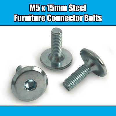 M6 x 12mm Steel Hex Drive Furniture Screws Connector Bolt 20 Pieces #100373